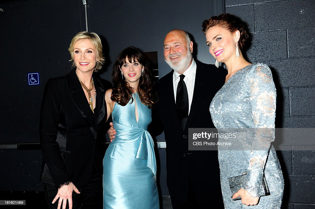 Jane Lynch, Zooey Deschanel, Rob Reiner and Emily Deschanel at the 65th Primetime Emmy Awards,  which will be broadcast live across the country 8:00-11:00 PM ET/ 5:00-8:00 PM PT from NOKIA Theater L.A. LIVE in Los Angeles, Calif., on Sunday, Sept. 22 on the CBS Television Network.