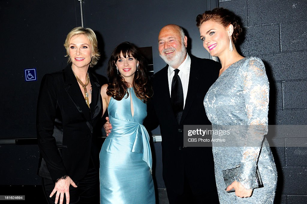 Jane Lynch, Zooey Deschanel, Rob Reiner, and Emily Deschanel at the 65th Primetime Emmy Awards,  which will be broadcast live across the country 8:00-11:00 PM ET/ 5:00-8:00 PM PT from NOKIA Theater L.A. LIVE in Los Angeles, Calif., on Sunday, Sept. 22 on the CBS Television Network.