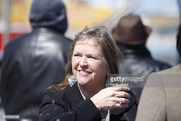 Jane O'Meara Sanders wife of Senator Sanders on boardwalk during candidate's speech Democratic presidential candidate Bernie Sanders addressed...