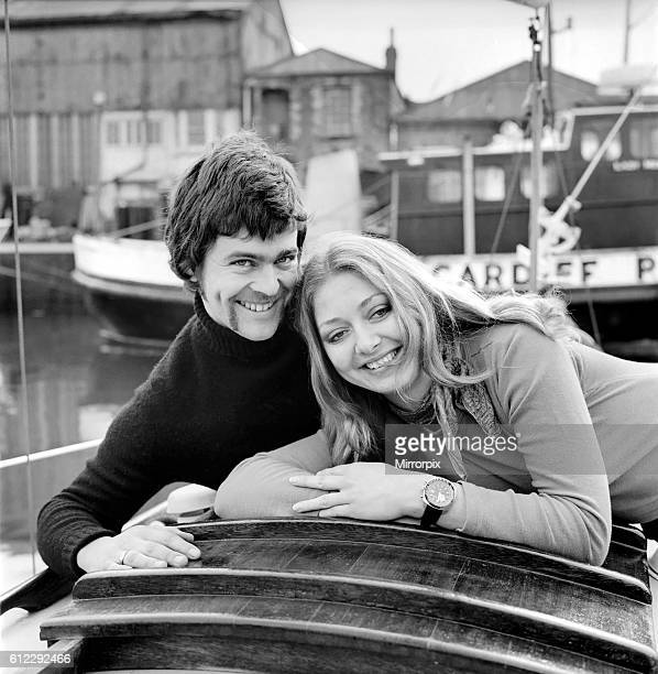 Jane Owen aged 23 of Cardiff and Geoff Burrel age 25 of Portsmouth on board the 'Roris' a 28ft sloop at Barry Docks Glam Inside the Roris they kiss...