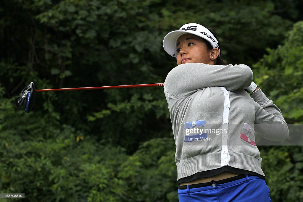 Jane Park hits her tee shot on the third hole during the third round of the Wegmans LPGA Championship at Monroe Golf Club on August 16, 2014 in Pittsford, New York.