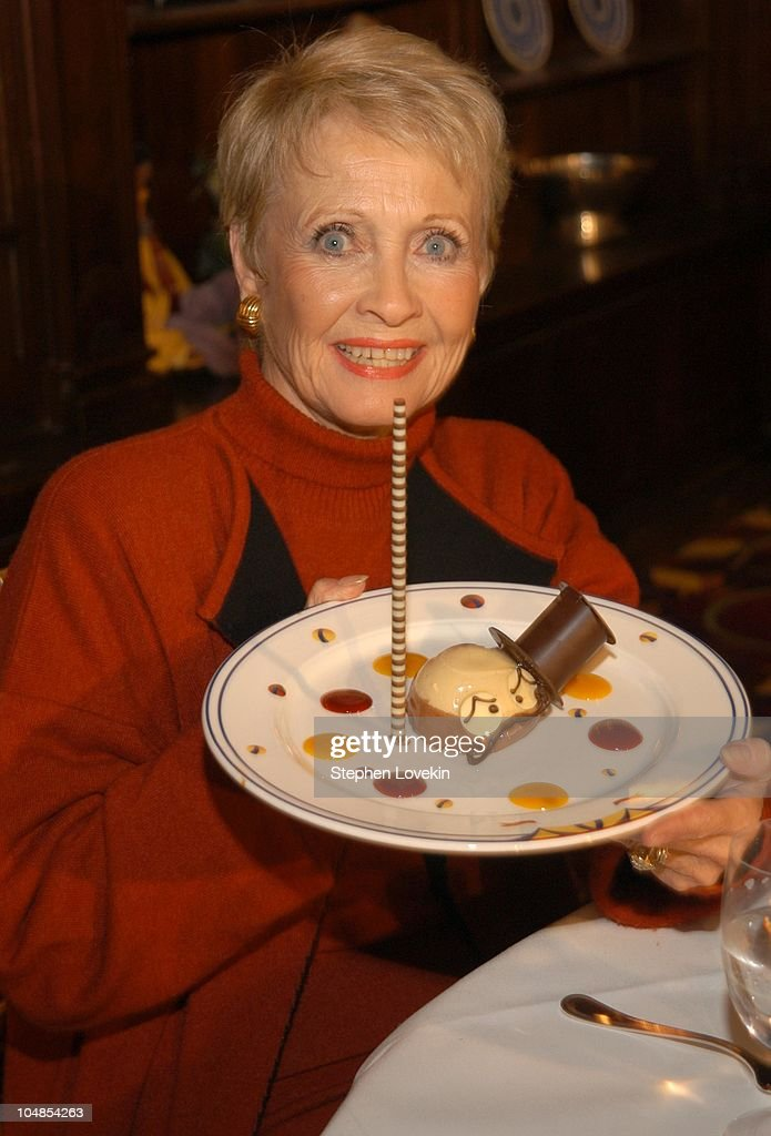 Jane Powell with her 'Gangs of New York' dessert during New York Oscar Night Menu Tasting at Le Cirque in New York City NY United States