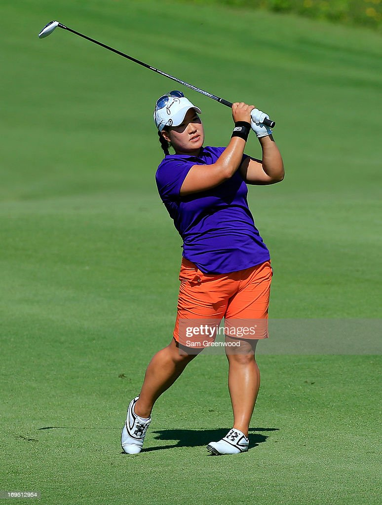 Jane Rah hits a shot during the second round of the Pure Silk-Bahamas LPGA Classic at the Ocean Club course on May 25, 2013 in Paradise Island, Bahamas.