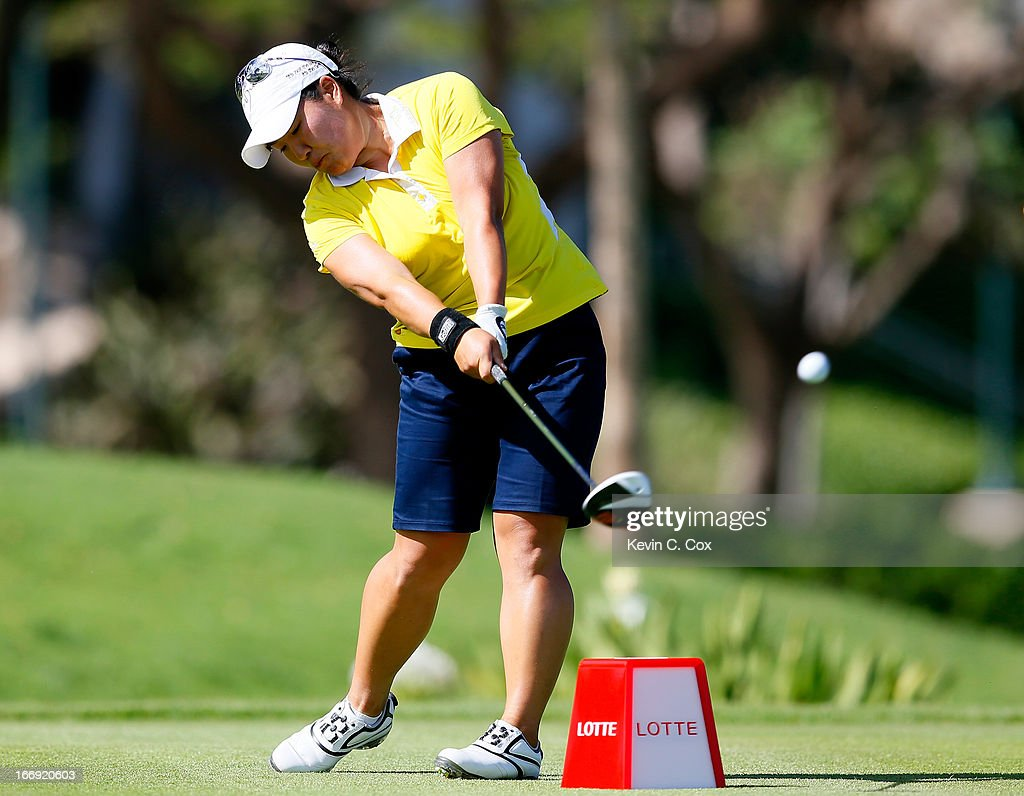 Jane Rah tees off the ninth hole during the second round of the LPGA LOTTE Championship Presented by J Golf at the Ko Olina Golf Club on April 18, 2013 in Kapolei, Hawaii.