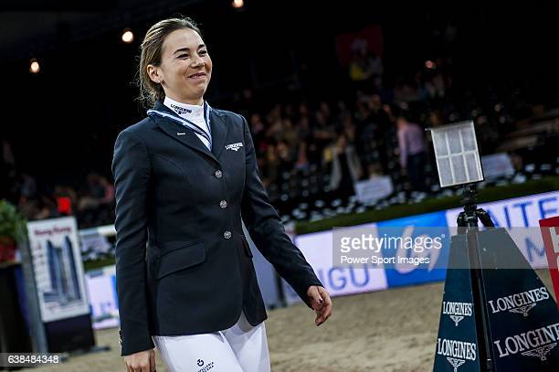 Jane Richard Philips of Switzerland competes at the Laiterie de Montaigu Trophy during the Longines Hong Kong Masters 2015 at the AsiaWorld Expo on...