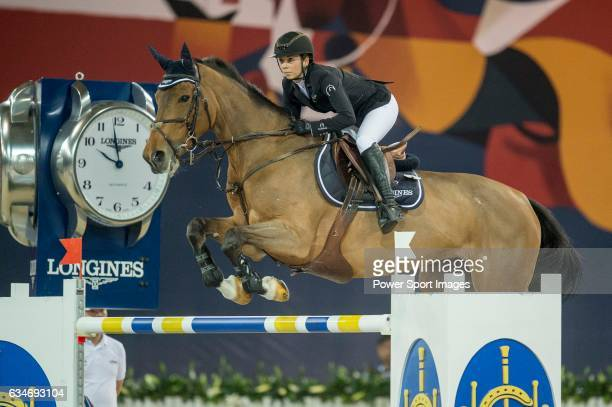 Jane Richard Philips of Switzerland riding Foica van den Bisschop during the Hong Kong Jockey Club Trophy competition part of the Longines Masters of...