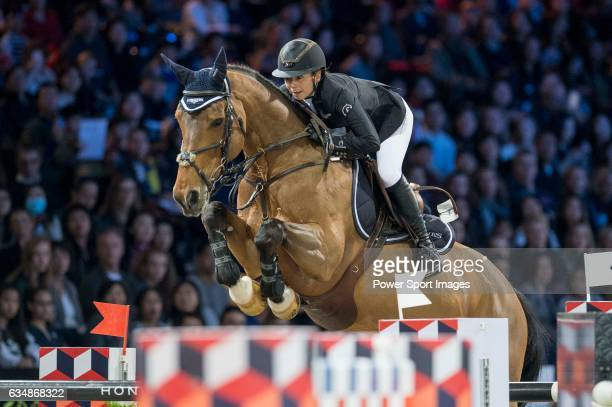 Jane Richard Philips of Switzerland riding Foica van den Bisschop competes during the Longines Grand Prix part of the Longines Masters of Hong Kong...