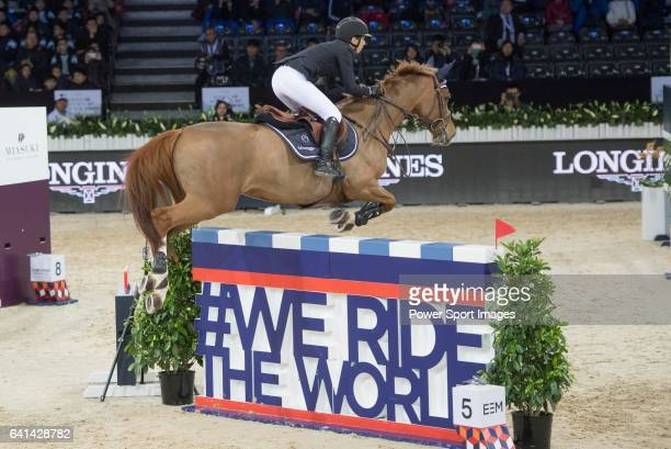 Jane Richard Philips of Switzerland riding on Zekina Z competes during the EEM Trophy part of the Longines Masters of Hong Kong on 10 February 2017...