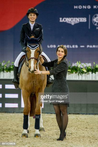 Jane Richard Philips of Switzerland riding on Zekina Z is third during the EEM Trophy part of the Longines Masters of Hong Kong on 10 February 2017...
