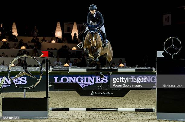 Jane Richard Philips of Switzerland riding Pablo de Virton competes at the Laiterie de Montaigu Trophy during the Longines Hong Kong Masters 2015 at...