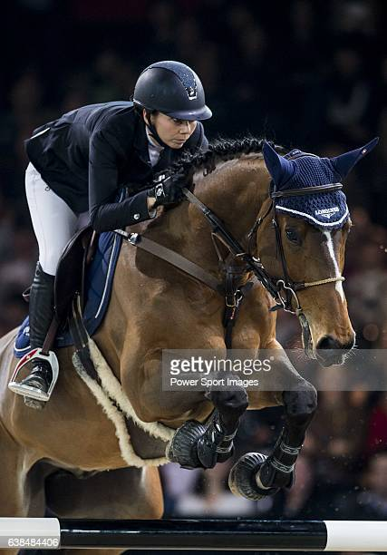 Jane Richard Philips of Switzerland riding Pablo de Virton in action at the Longines Grand Prix during the Longines Hong Kong Masters 2015 at the...