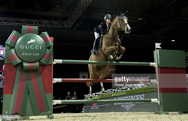 Jane Richard Philips of Switzerland riding Zekina Z in action at the Gucci Gold Cup during the Longines Hong Kong Masters 2015 at the AsiaWorld Expo...