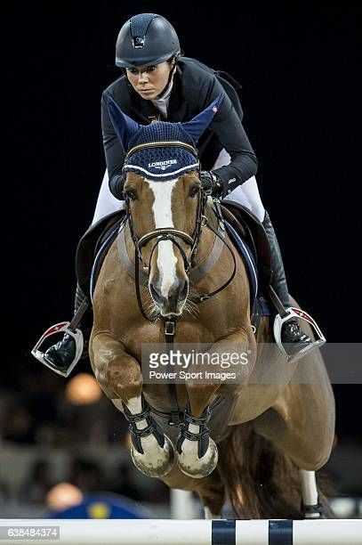 Jane Richard Philips of Switzerland riding Zekina Z in action during the Gucci Gold Cup as part of the Longines Hong Kong Masters on 14 February 2015...