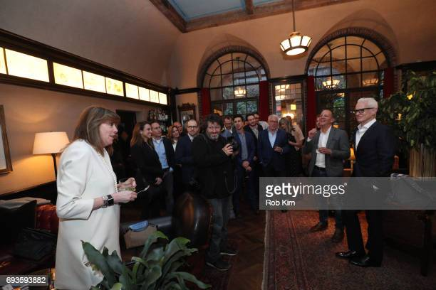 Jane Rosenthal makes an intro as Andrew Essex and John Slattery look on at the book launch party for Andrew Essex's 'The End of Advertising' at...