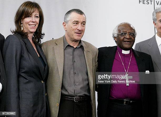 Jane Rosenthal Robert De Niro and Bishop Desmond Tutu are on hand at American Express headquarters on Vesey St for a news conference kicking off the...