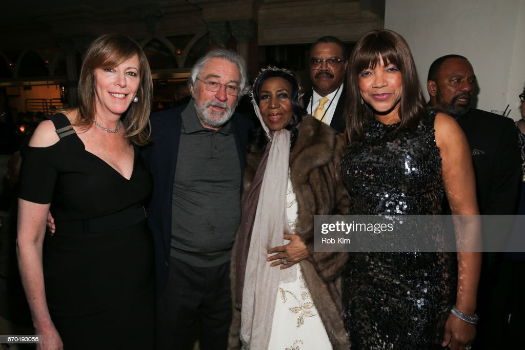 Jane Rosenthal, Robert De Niro, Aretha Franklin and Grace Hightower attend the 2017 Tribeca Film Festival Opening Night Party at Tavern On The Green on April 19, 2017 in New York City.