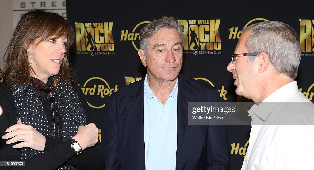 Jane Rosenthal, Robert De Niro with Director Ben Elton attend the 'We Will Rock You' North America Tour Rehearsals at The New 42nd Street Studios on September 23, 2013 in New York City.