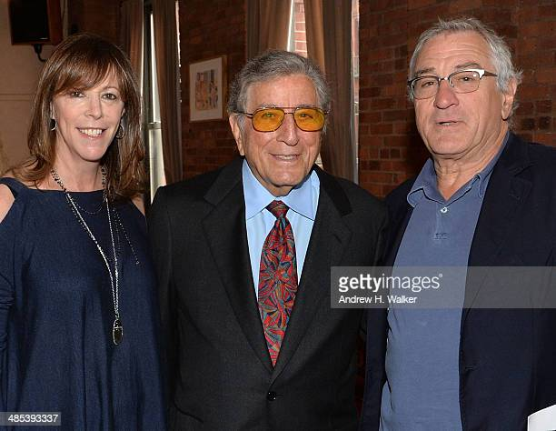 Jane Rosenthal Tony Bennett and Robert De Niro attend the 2014 Tribeca Film Festival Juror Welcome Lunch on April 17 2014 in New York City