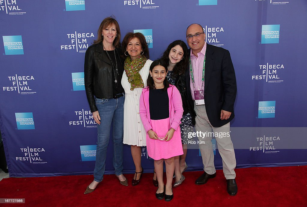 <a gi-track='captionPersonalityLinkClicked' href=/galleries/search?phrase=Jane+Rosenthal&family=editorial&specificpeople=202835 ng-click='$event.stopPropagation()'>Jane Rosenthal</a> (L) with Aryeh Bourkoff (R) and Vivienne Roumani and her children attend Tribeca Talks After The Movie: 'Out Of Print' during the 2013 Tribeca Film Festival on April 28, 2013 in New York City.