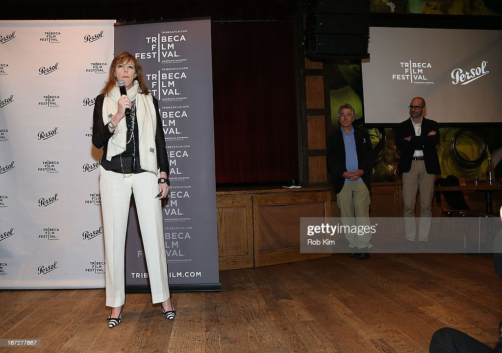 Jane Rosenthal (C) with Robert De Niro and Andrea Dorigo (rear) attend the Directors Brunch during the 2013 Tribeca Film Festival on April 23, 2013 in New York City.