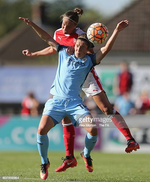 Jane Ross of Manchester City and Casey Stoney of Arsenal during the WSL match between Arsenal Ladies and Manchester City Ladies at Meadow Park on...