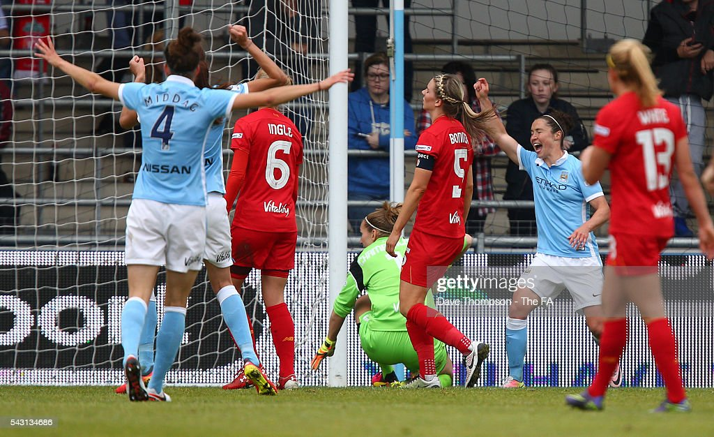 Jane Ross of Manchester City Women celebrates scoring during the FA WSL match between Manchester City Women and Liverpool Ladies FC on June 26, 2016 in Manchester, England.