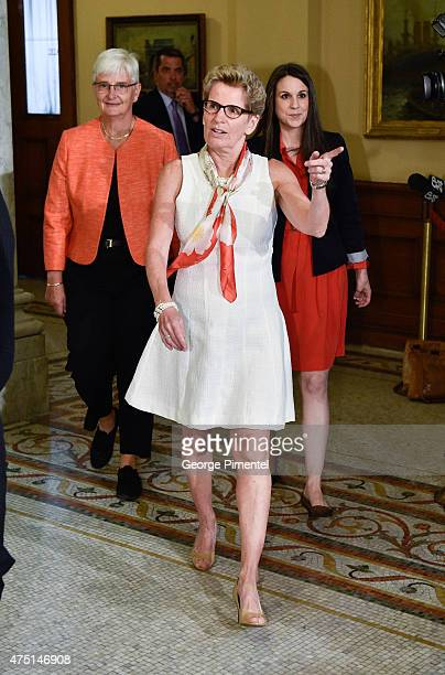 Jane Rounthwaite and Premier of Ontario Kathleen Wynne at Queen's Park to welcome King WillemAlexander and Queen Maxima of the Netherlands state...