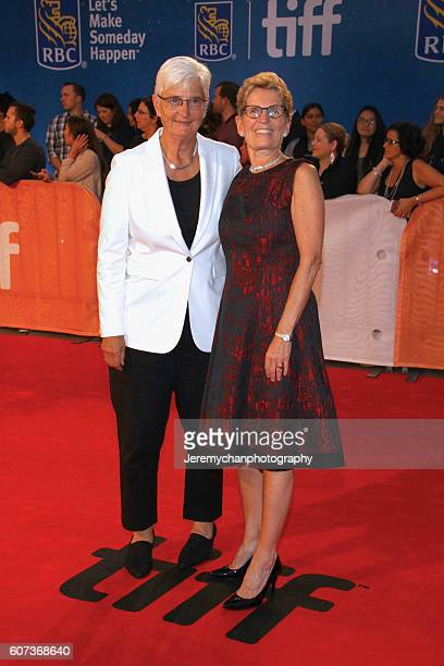 Jane Rounthwaite and Premier of Ontario Kathleen Wynne attend the 'The Edge of Seventeen' premiere held at Roy Thomson Hall during the Toronto...