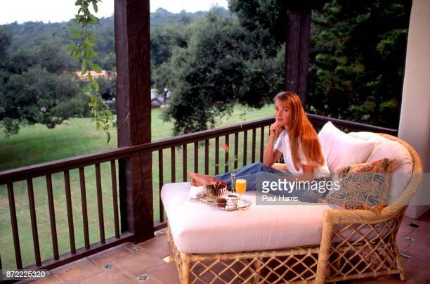 Jane Seymour after parting from her husband David Flynn relaxes at home March 19 1992 in Montecito Santa Barbara California