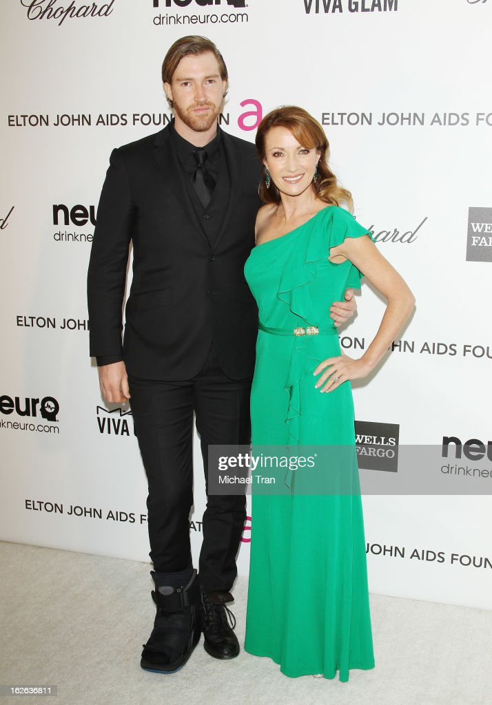 Jane Seymour (R) and her son Sean Flynn arrive at the 21st Annual Elton John AIDS Foundation Academy Awards viewing party held at West Hollywood Park on February 24, 2013 in West Hollywood, California.