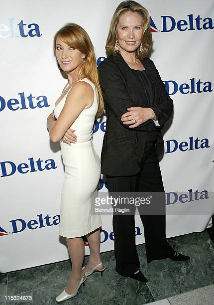 Jane Seymour and Maud Adams during 'Shaken Not Stirred' Bond Girls Reunite to Celebrate Delta Airlines' Newest International Route Between New York...