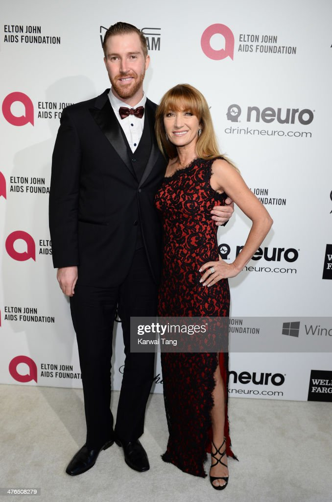 Jane Seymour and son <a gi-track='captionPersonalityLinkClicked' href=/galleries/search?phrase=Sean+Flynn&family=editorial&specificpeople=221320 ng-click='$event.stopPropagation()'>Sean Flynn</a> arrive for the 22nd Annual Elton John AIDS Foundation's Oscar Viewing Party held at West Hollywood Park on March 2, 2014 in West Hollywood, California.