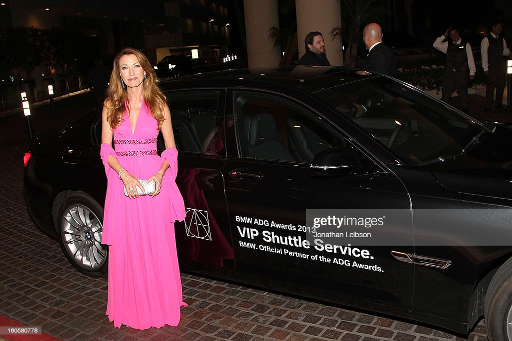 Jane Seymour arriving in a BMW 7 series to the 17th Annual Art Directors Guild Awards For Excellence In Production Design presented by BMW at The Beverly Hilton Hotel on February 2, 2013 in Beverly Hills, California.