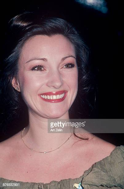 Jane Seymour at a formal event wearing taupe circa 1970 New York