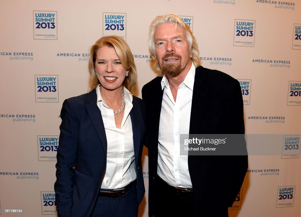 Jane Wells, Reporter, CNBC, and Sir <a gi-track='captionPersonalityLinkClicked' href=/galleries/search?phrase=Richard+Branson&family=editorial&specificpeople=220198 ng-click='$event.stopPropagation()'>Richard Branson</a> attend The American Express Publishing Luxury Summit 2013 at St. Regis Monarch Beach Resort on April 22, 2013 in Dana Point, California.
