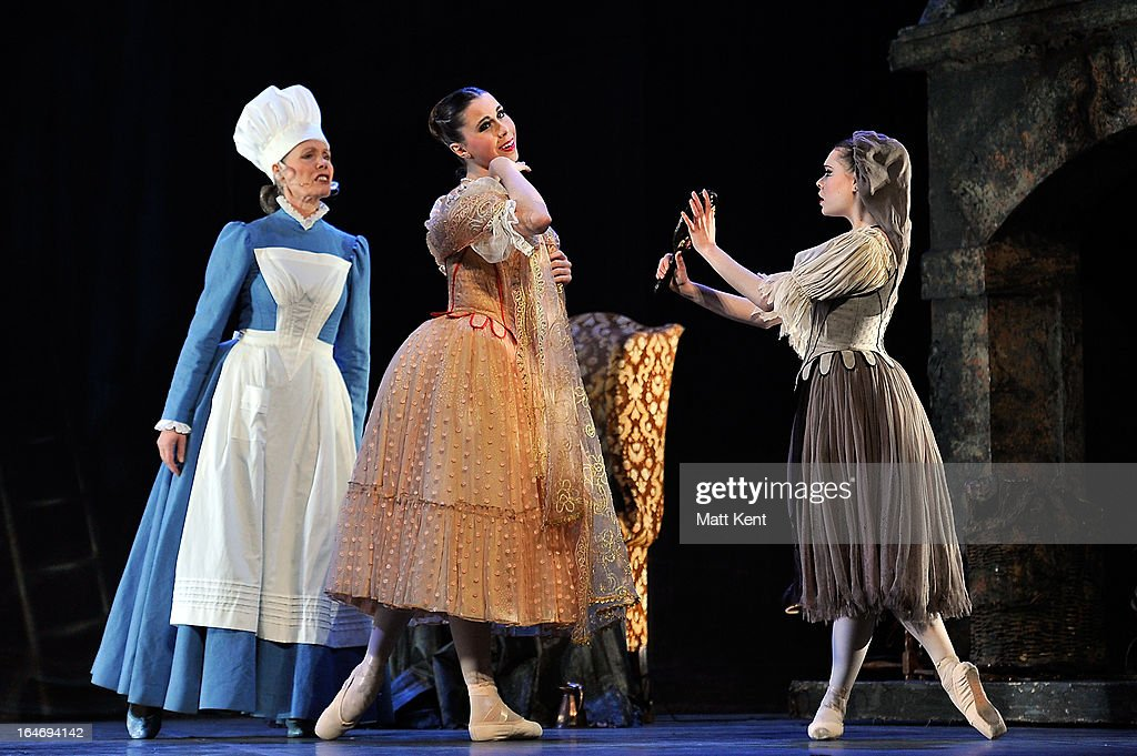 Jane Wymark as the Narrator, Gretel Palfrey as one of the step sisters and Daniela Oddi as Cinderella perform during the dress rehearsal for the English National Ballet's 'My First Cinderella' at The Peacock Theatre on March 26, 2013 in London, England.