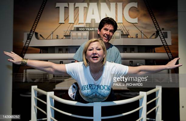 Janeen Coyle and husband Chris O'Brien from Cincinnati Ohio enjoy National Geographic's 'Titanic 100Year Obsession' on the first day it is opened to...