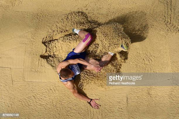 Janek Oiglane of Estonia competes in the Men's Decathlon Long Jump during day eight of the 16th IAAF World Athletics Championships London 2017 at The...