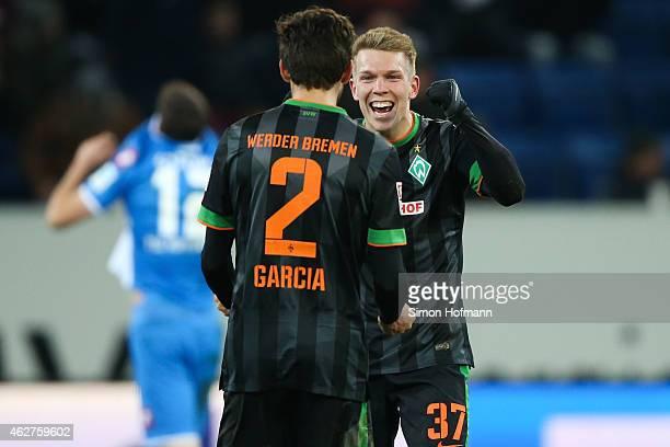 Janek Sternberg and Santiago Garcia of Bremen celebrate winning after the Bundesliga match between TSG 1899 Hoffenheim and SV Werder Bremen at Wirsol...