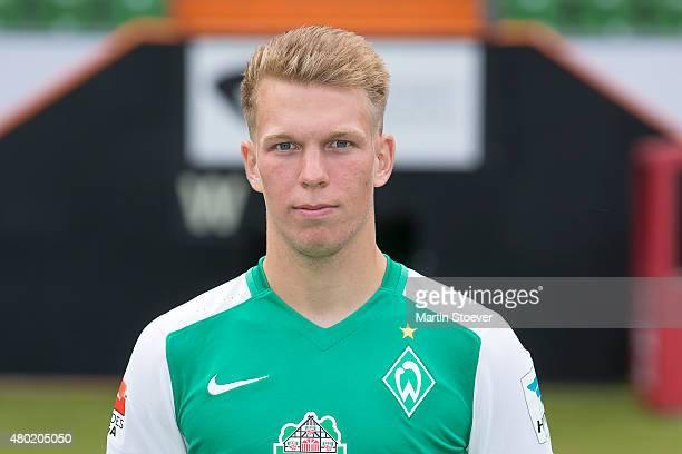 Janek Sternberg poses during the official team presentation of Werder Bremen at Weserstadion on July 10 2015 in Bremen Germany