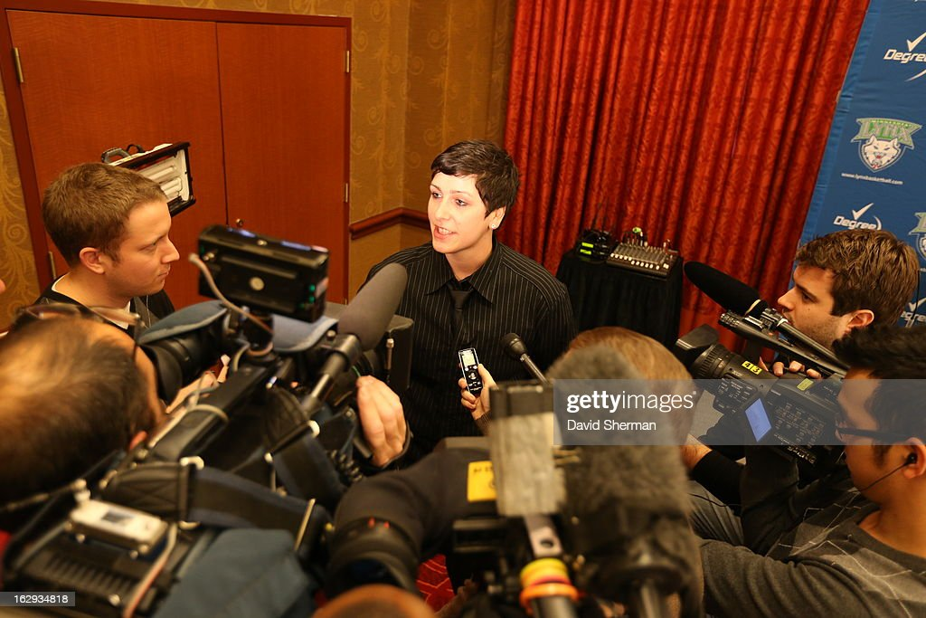 Janel McCarville of the Minnesota Lynx answers questions from the media following her introductory press conference on March 1, 2013 at the Depot Renaissance Hotel in Minneapolis, Minnesota.