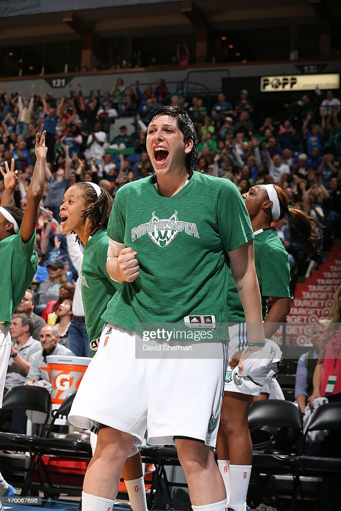 <a gi-track='captionPersonalityLinkClicked' href=/galleries/search?phrase=Janel+McCarville&family=editorial&specificpeople=239106 ng-click='$event.stopPropagation()'>Janel McCarville</a> #4 of the Minnesota Lynx celebrates during the WNBA game against the Phoenix Mercury on June 6, 2013 at Target Center in Minneapolis, Minnesota.