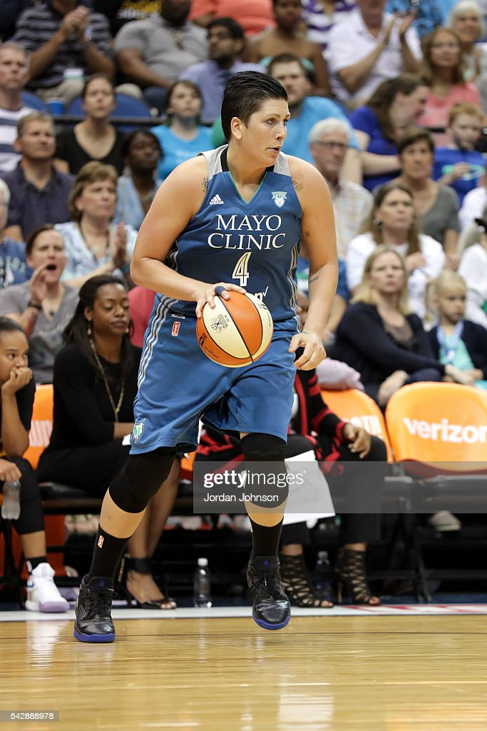 <a gi-track='captionPersonalityLinkClicked' href=/galleries/search?phrase=Janel+McCarville&family=editorial&specificpeople=239106 ng-click='$event.stopPropagation()'>Janel McCarville</a> #4 of the Minnesota Lynx handles the ball during the game against the Los Angeles Sparks during the WNBA game on June 24, 2016 at Target Center in Minneapolis, Minnesota.
