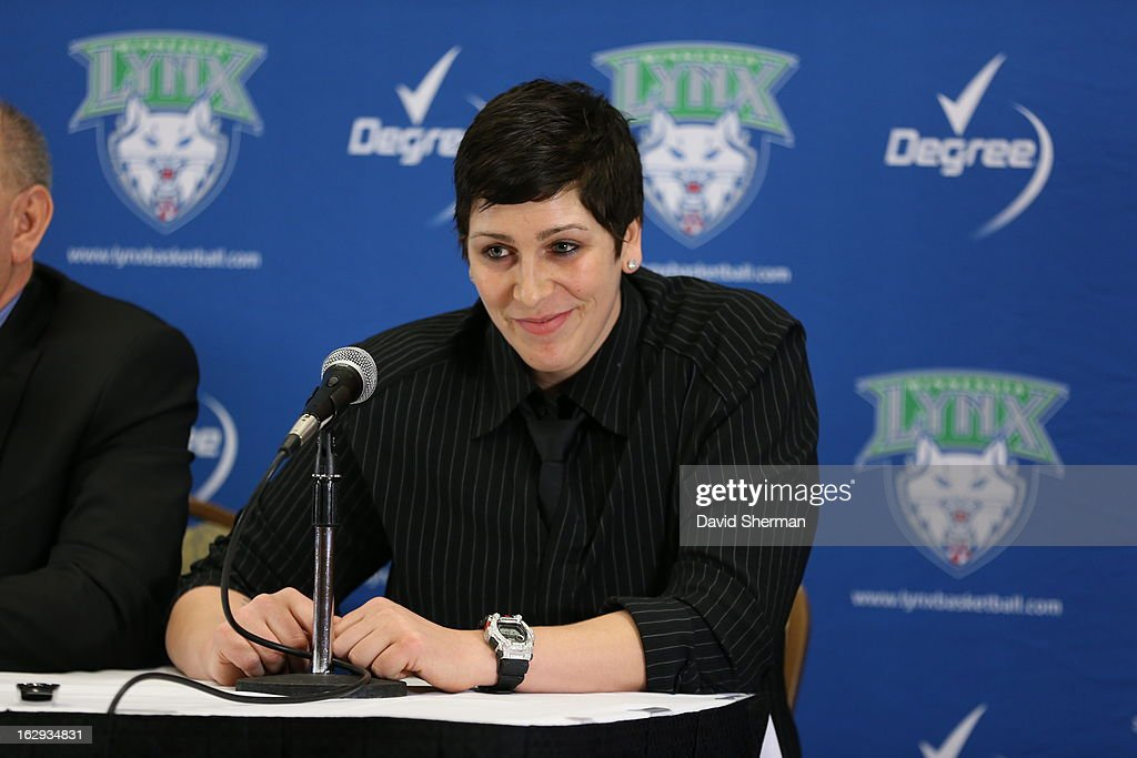Janel McCarville of the Minnesota Lynx is introduced to the media during a press conference on March 1, 2013 at the Depot Renaissance Hotel in Minneapolis, Minnesota.