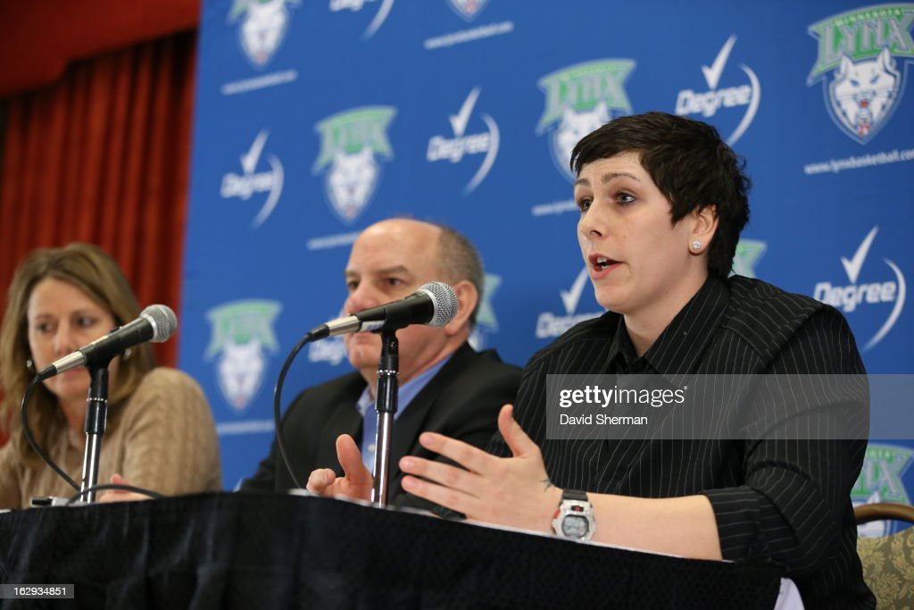 Janel McCarville of the Minnesota Lynx is introduced to the media by Executive Vice President Roger Griffith and Head Coach Cheryl Reeve during a press conference on March 1, 2013 at the Depot Renaissance Hotel in Minneapolis, Minnesota.