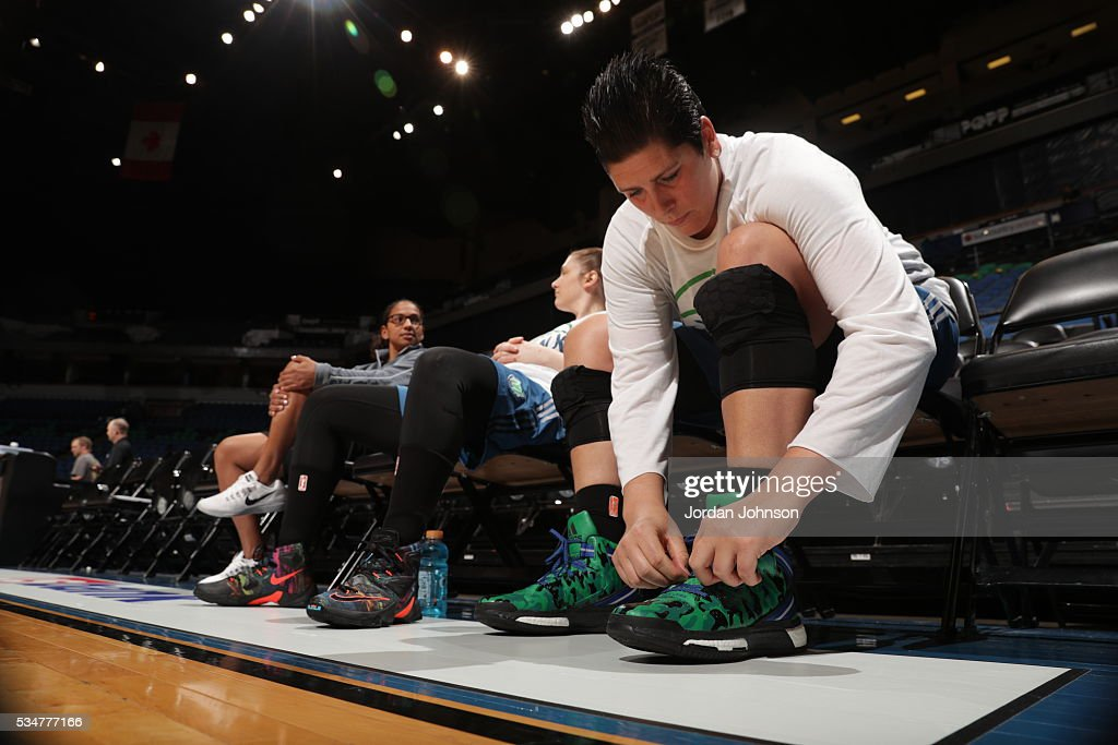 <a gi-track='captionPersonalityLinkClicked' href=/galleries/search?phrase=Janel+McCarville&family=editorial&specificpeople=239106 ng-click='$event.stopPropagation()'>Janel McCarville</a> #4 of the Minnesota Lynx prepares before the game against the Indiana Fever on May 27, 2016 at Target Center in Minneapolis, Minnesota.