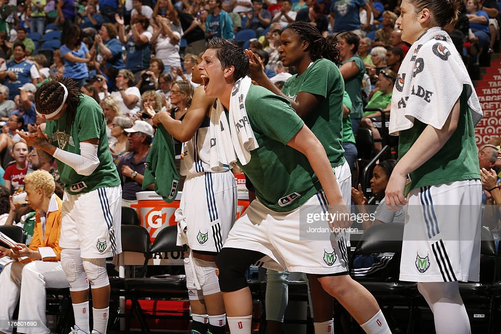 <a gi-track='captionPersonalityLinkClicked' href=/galleries/search?phrase=Janel+McCarville&family=editorial&specificpeople=239106 ng-click='$event.stopPropagation()'>Janel McCarville</a> #4 of the Minnesota Lynx reacts to the play against the New York Liberty during the WNBA game on August 18, 2013 at Target Center in Minneapolis, Minnesota.