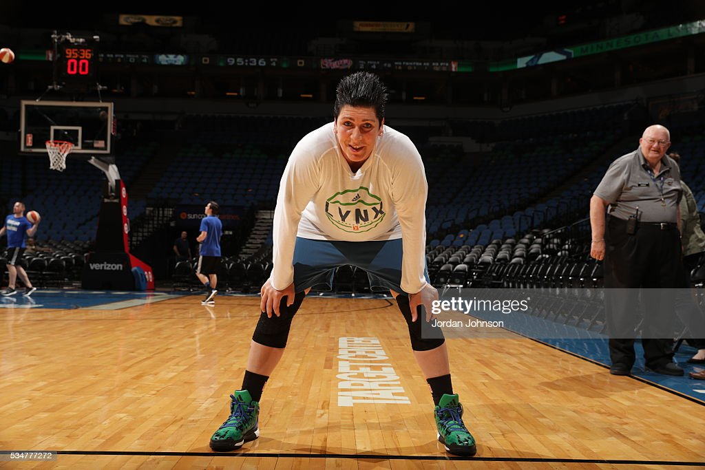 <a gi-track='captionPersonalityLinkClicked' href=/galleries/search?phrase=Janel+McCarville&family=editorial&specificpeople=239106 ng-click='$event.stopPropagation()'>Janel McCarville</a> #4 of the Minnesota Lynx warms up before the game against the Indiana Fever on May 27, 2016 at Target Center in Minneapolis, Minnesota.