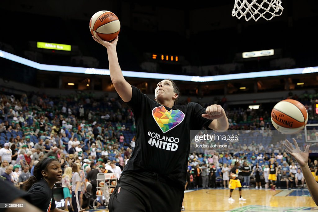 <a gi-track='captionPersonalityLinkClicked' href=/galleries/search?phrase=Janel+McCarville&family=editorial&specificpeople=239106 ng-click='$event.stopPropagation()'>Janel McCarville</a> #4 of the Minnesota Lynx warms up before the game against the Los Angeles Sparks during the WNBA game on June 24, 2016 at Target Center in Minneapolis, Minnesota.
