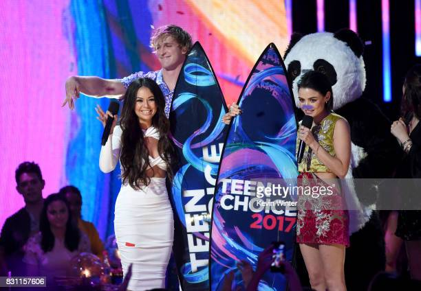 Janel Parrish Logan Paul and Lucy Hale speak onstage during the Teen Choice Awards 2017 at Galen Center on August 13 2017 in Los Angeles California